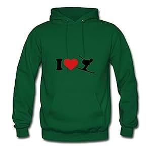 I Love Ski Elegent Sweatshirts Green X-large Green Fredrisim Print