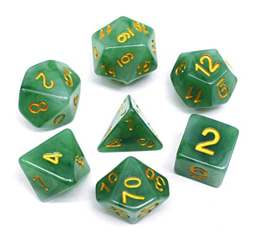 Green Jade Set - HD DND Polyhedral Dice Set RPG Green Jade Dice Compatible Dungeons and Dragons Role Playing Game,MTG,Pathfinder,Table Game,Board Games Dice Set (Jade Green)