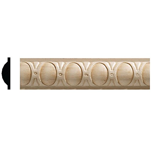 Ornamental Mouldings 3/8 in. x 1-5/16 in. x 96 in. White Hardwood Embossed Oval Moulding