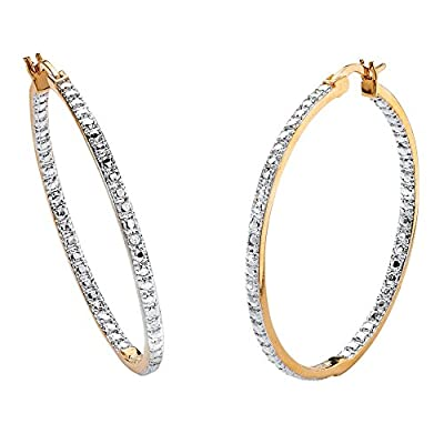 Nice White Diamond Accent Inside-Out 18k Yellow Gold-Plated Two-Tone Hoop Earrings (39mm) for cheap