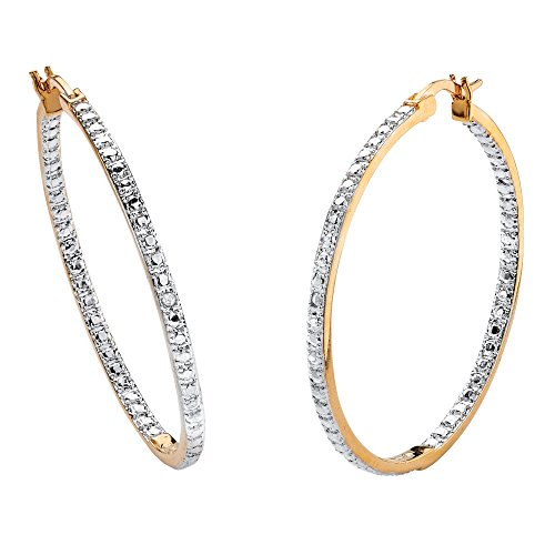 Tone Two 18k Earrings (White Diamond Accent Inside-Out 18k Yellow Gold-Plated Two-Tone Hoop Earrings (39mm))