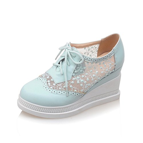 Lucksender Dames Lace Up Platform Mesh Lace Oxford Schoenen Blauw