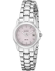 Citizen Womens Eco-Drive Watch with Pink Dial and Date, EW1620-57X