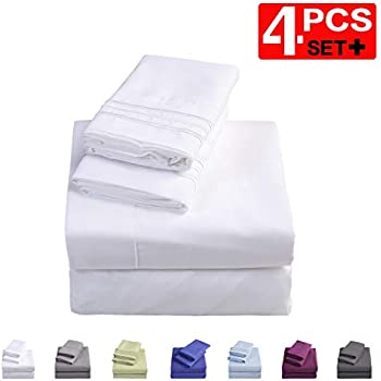 Emonia Twin XL Sheets Set - 4 Pieces Bed Sheets-Microfiber Super Soft 1800 Series Deep Pocket Fitted Sheets-Wrinkle and Fade Resistant (White, Twin XL)