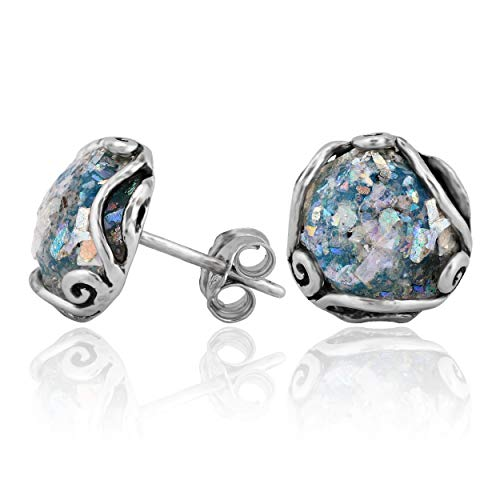 PZ Paz Creations .925 Sterling Silver Roman Glass Stud Earrings ()
