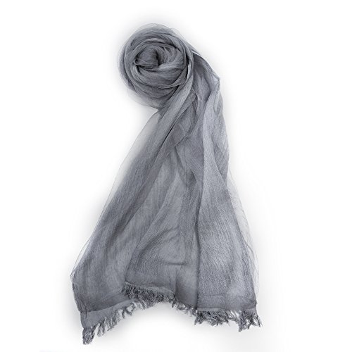 Scarf With Double Layers - OKEER Unisex Solid Color Silk Cotton Fabric Scarves Wraps(Gray)