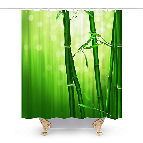 Kithstore Outdoor Green with Bamboo Theme Fabric Shower Curtain Sets Bathroom Decor with Hooks Waterproof Washable 72 x 72 inches White (All Quiet On The Western Front Nature)