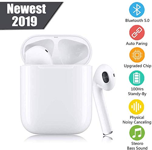 Bluetooth 5.0 Headset Wireless Earbuds 3D Stereo Headphone with Fast Charging Case, Auto Pairing in-ear Ear buds IPX5 Waterproof Mini Sports Earphones for Work Running Travel Gym Wireless Earbuds