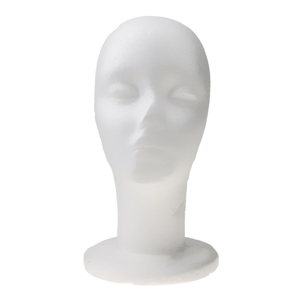 MagiDeal Supporto Femmina Foam Mannequin Testa Del Manichino Parrucche Cappelli Occhiali Modello Di Visualizzazione Polistirolo Accessori Bianco