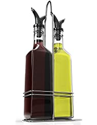 Royal Oil And Vinegar Bottle Set With Stainless Steel Rack And Removable  Cork U2013 Dual Olive Oil Spout U2013 Olive Oil Dispenser, 17oz Olive Oil Bottle  And ...