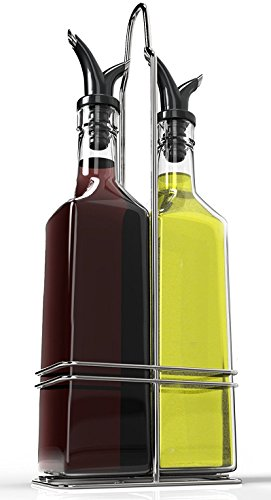 Zeppoli Oil and Vinegar Bottle Set with Stainless Steel Rack and Removable Cork - Dual Olive Oil Spout - Olive Oil Dispenser, 17oz Olive Oil Bottle and Vinegar Bottle Glass Set ()