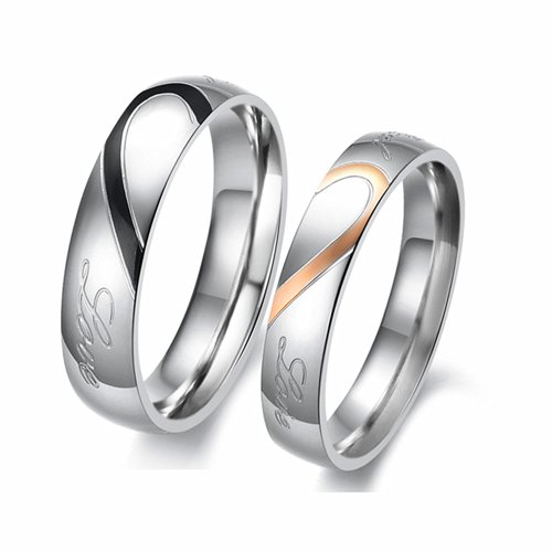 Jewelry Stainless Engraved Couples Engagement