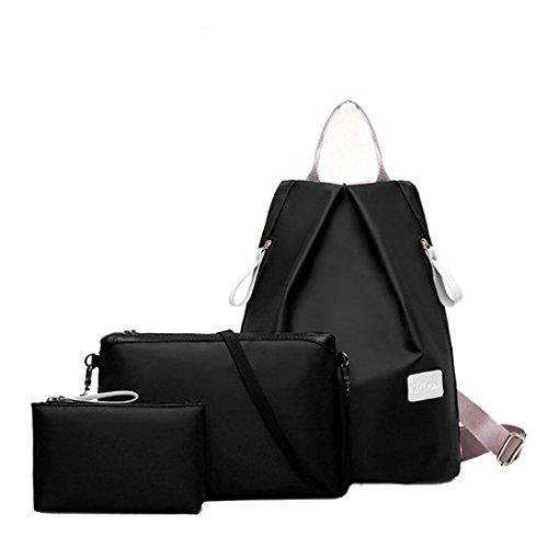 Clode® Las mujeres de moda impermeable bolso bandolera mochila y bolso de las señoras 3pcs bolso Set Negro