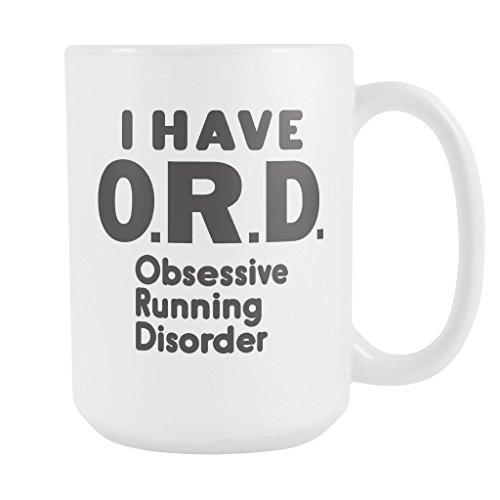 ArtsyMod Premium ORD OBSESSIVE RUNNING DISORDER Coffee Mug, PERFECT FUN GIFT for the Runner, Marathon, Triathlon, Ironman Lover! Attractive Durable White Ceramic Mug (15oz., Black Print)