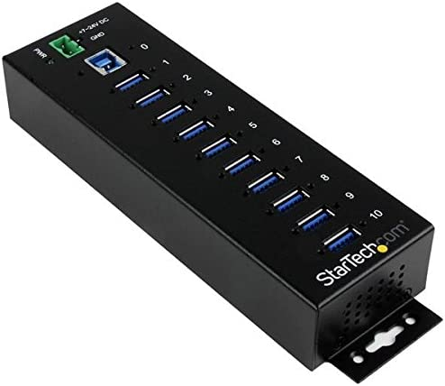 StarTech.com 10 Port USB 3.0 Hub - Industrial Grade - ESD/Surge Protection - Powered & Mountable USB Expander Hub (ST1030USBM),Black
