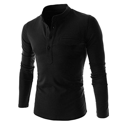 Puedo Mens Henley Shirt, Casual Long Sleeves Shirts Henley Shirt Grandad Neck T-Shirts Tees Button Placket Top (Black,XL=US L) - Grandad Neck T-shirt