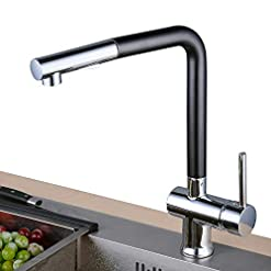 Kitchen Kitchen Sink Faucet with Pull Down Sprayer,Modern Style Brass 2 Water Function Setting Single Handle Pull Out with… modern sink faucets
