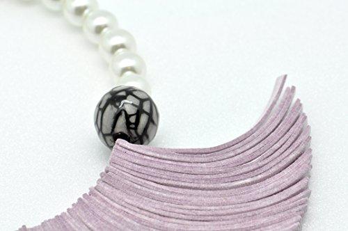 Collier suédine et perles Rose - Christina Brampti