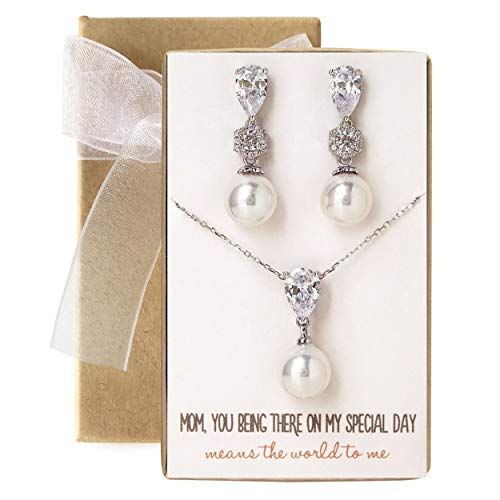 (AMY O Wedding Gift, Mother of The Bride/Groom Pearl Jewelry Set in Gold, Silver or Rose Gold (Floral Pearl - Silver Set, Mom, Having You There on My Special Day... Card) )