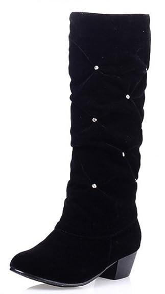 Women's Dressy Rhinestone Medium Heel Chunky Slouchy Mid Calf Boots