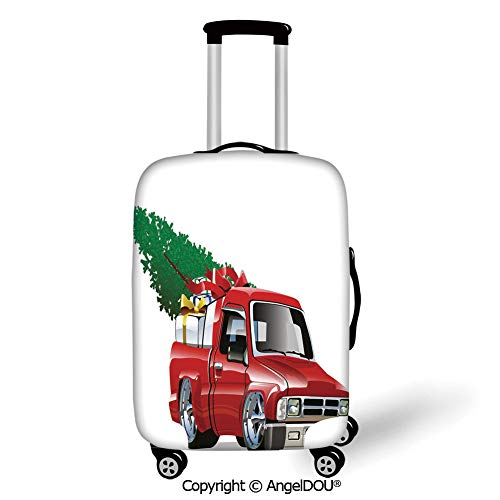 AngelDOU Durable Elastic Suitcase Luggage Protective Cover Christmas Red Pickup Truck with Big Gift Boxes and Tree Xmas Art Prints Farm Motor Theme White Red Trolley Dust Rain Bags Accessories. (Farm Christmas Tree California)