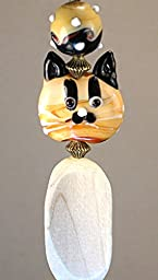 A Curious Cat Lampwork Glass and Wood Light / Ceiling Fan Pull Chain
