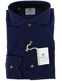 New Luigi Borrelli Navy Blue Solid Extra Slim Shirt