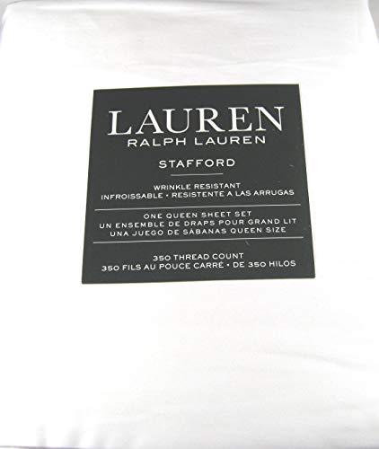 Lauren 4 Pc Stafford White Queen Sheet Set Wrinkle Resistant 100% Cotton Sateen 350 Thread Count