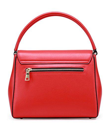 Otoño e Invierno XinMaoYuan golpeó el color del hombro bolsa bandolera Color puro bolso de cuero cubierto de sección transversal Rojo