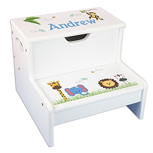 - Personalized Jungle Animals Storage Step Stool