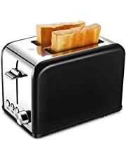 REDMOND Toaster 2 Slice, Retro Small Toaster with Bagel, Cancel, Defrost Function, Extra Wide Slot Compact Stainless Steel Toasters for Bread Waffles, Black