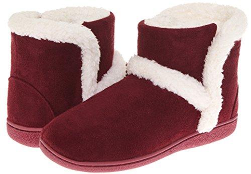 Sleepwear Slippers (Floopi Womens Indoor Outdoor Sherpa Fur Lined Bootie Slipper W/Memory Foam (S, Burgundy-201))