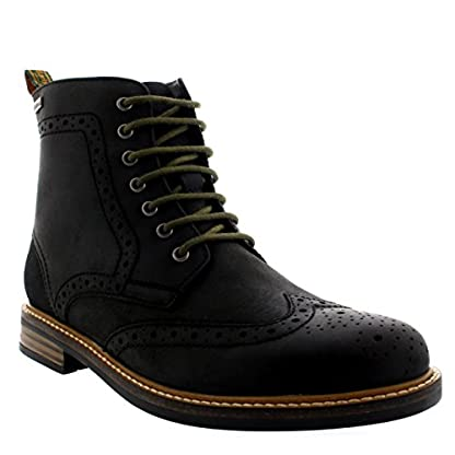 Mens Barbour Belsay Smart Leather Work Office Lace Up Brogue Ankle Boots 3