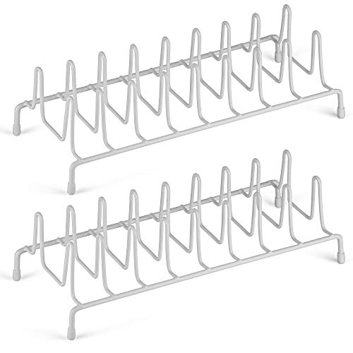 DecorRack 2 Wire Plate Racks and Lid Holders, Perfect Dish Storage Organizer for Kitchen Cabinet Counter, Ideal Sink Drying Rack for Plates, 8 Dividers, Wire Metal (2 Pack)