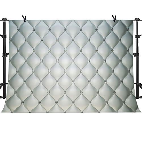 MTMETY 10X7ft Silver Tufted Backdrop Breakfast Sweet 16 Birthday Party Background for Photography Bridal Shower Adults Cake Table Banner Lattice Baby Girl Photo Booth ME231
