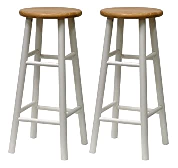 winsome wood s2 beveled seat 30inch bar stools natwht