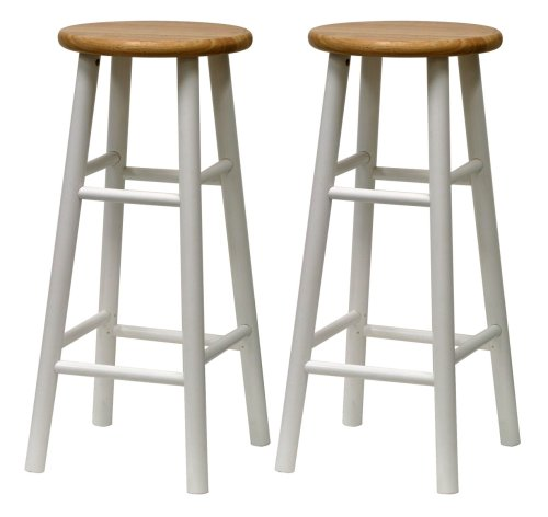 Winsome Wood S/2 Beveled Seat 30-Inch Bar Stools Nat/Wht - Winsome Cherry Bar Stool