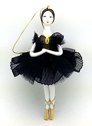 Ballerina CHRISTMAS Tree Ornament in black gold dress with porcelain hand painted face Swan Lake ballet