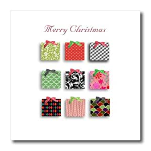 ht_165149_2 InspirationzStore Occasions - Merry Christmas - red and green cute 2D xmas presents or gift boxes - Iron on Heat Transfers - 6x6 Iron on Heat Transfer for White Material