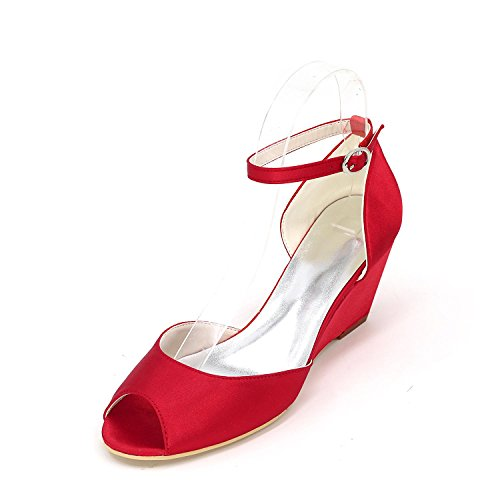 Stiletto L Red Toe Heel Multicolor YC Peep Shoes Wedding Sandals Women's qUqgtw6WZ