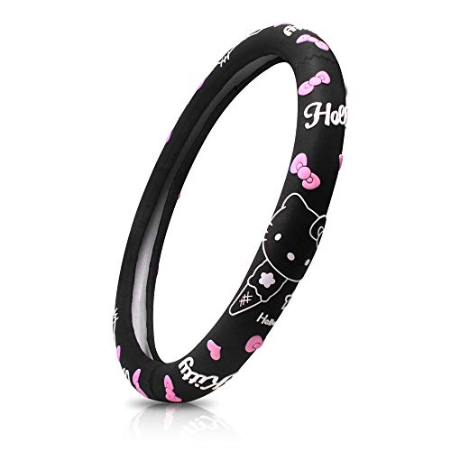 FINEX Silicone Hello Kitty Auto Car Steering Wheel Cover - Black - Universal Fit (Hello Kitty Seat Cover For Car)