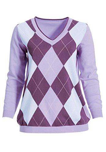 Ellos Women's Plus Size V-Neck Argyle Sweater Purple