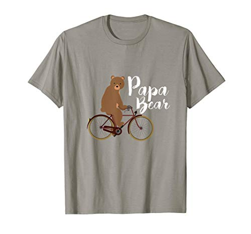 Mens Papa Bear on a Bicycle T-Shirt - Tee for Cycling Dad Father