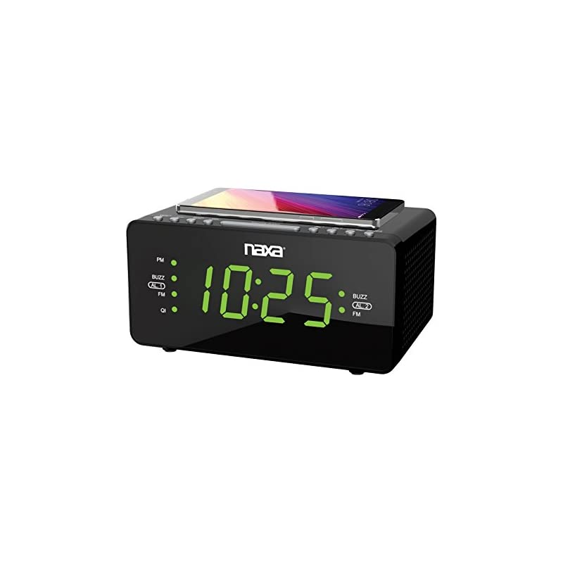 NAXA Electronics NRC-191 Dual Alarm Clock with Qi Wireless Charging Function for Smartphones/iPod/iPhone/Tablets, LED Display, Black