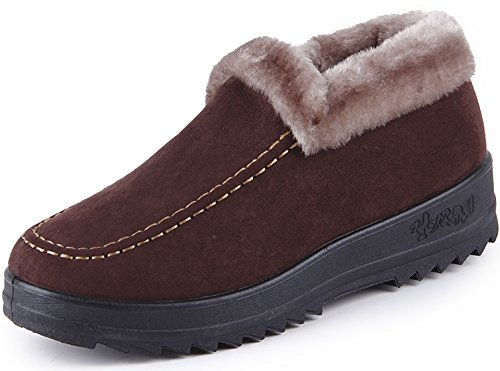 Winter Short Snow Boots Warm Slip-On Walking Shoes Fur Lined Footwear(Brown, 8 B(M) US) (Brown Footwear)