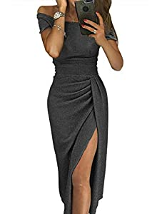 HUUSA Womens Off Shoulder Ruched Sprakling Knitted Midi High Slit Dress Party Wedding Cocktail