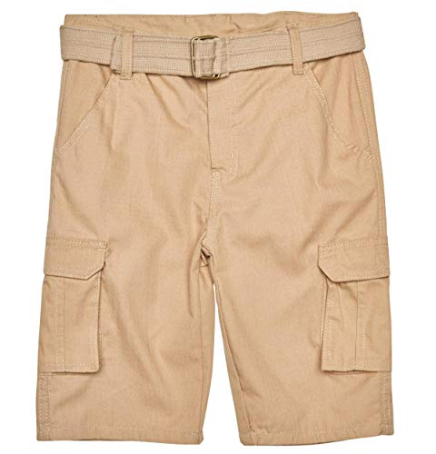 Quad Seven Boys Ripstop Belted Cargo Shorts, Khaki 2, Size 8'