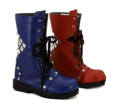 [Women's Blue Red Cosplay Shoes Boots Winter Warm (Female US 7.5)] (70s Spider Man Costume)