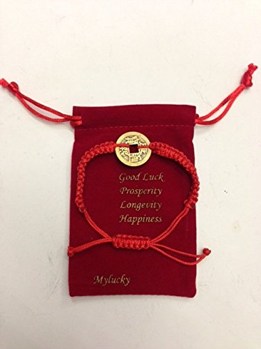 Bracelet Coin Chinese (Feng Shui Red String Bracelet with Chinese Coin for Good Luck and Prosperity USA Seller)