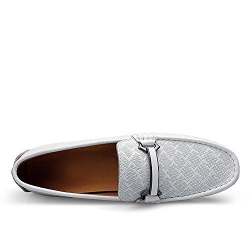Rismart Mens Äkta Läder Decicate Pläd Prägling Spänne Dagdrivaren Flats Eleganta Formella Affärs Loafers Vita 9928 Us8.5